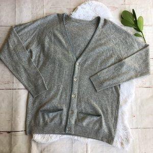 Gray Wool Cardigan with Blue Trim & Pockets XXL